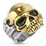 Кольцо из стали с золотым черепом R-S1492
