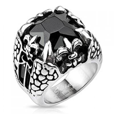 Кольцо из стали с камнем R-H4549