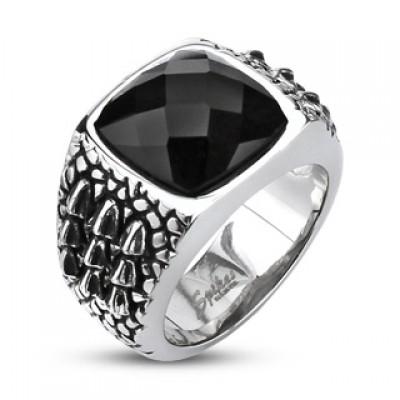 Кольцо из стали с камнем R-Q2008