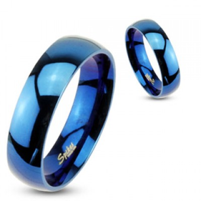 Синие парные кольца из стали R004