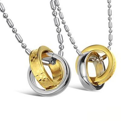 Парные кулоны для влюбленных dan_008 из ювелирной стали 316L